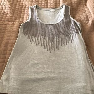 Ann Taylor Loft Grey Sleeveless Sequin Top